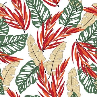 Modello tropicale senza cuciture astratto con piante e foglie luminose