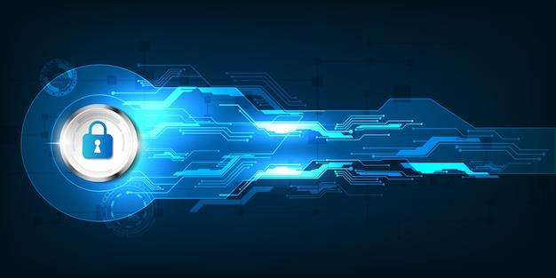 Insegna di tecnologia digitale di sicurezza astratta Vettore Premium