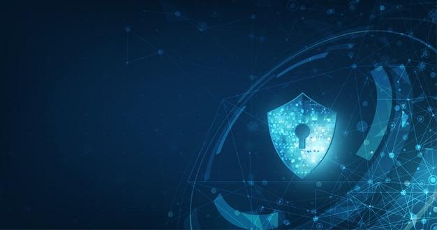 Insegna astratta di tecnologia digitale di sicurezza.
