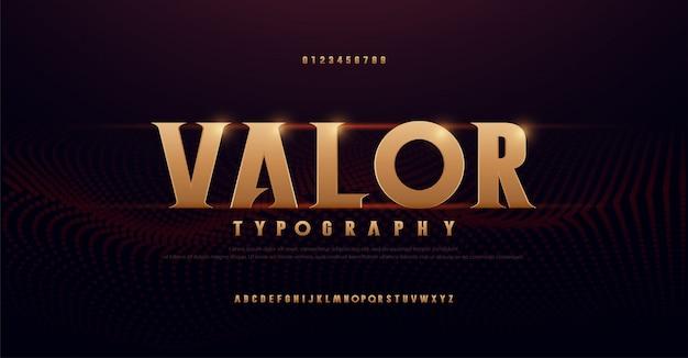 Caratteri di alfabeto oro serif astratto. tipografia moderna dorata per rock, musica, gioco, futuro, creativo, carattere e numero di design di font 3d.