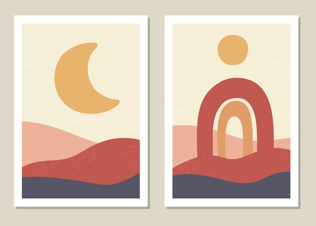 Insieme astratto di collage con il paesaggio. arte muraria.