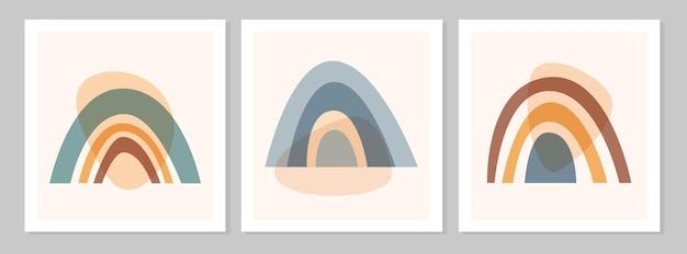 Arcobaleno boho colorato set astratto con forme, isolato su sfondo beige. illustrazione piana di vettore. clipart in stile scandinavo per stampe moderne, biglietti di auguri, poster, wall art.