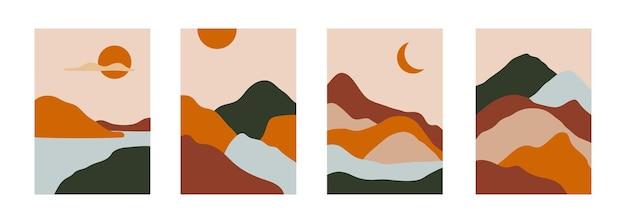 Set di poster paesaggistici astratti in stile piatto sfondo di design moderno colorato disegnato a mano