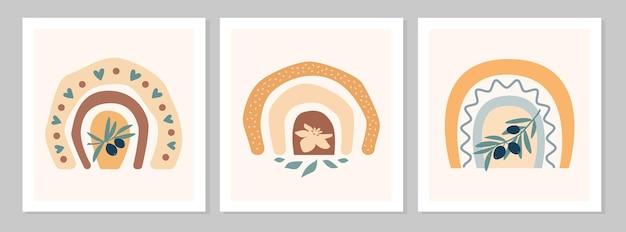 Arcobaleno stabilito astratto con il ramo d'oliva, fiore, cuori, foglia isolato su fondo beige. illustrazione piana di vettore. clipart in stile scandinavo per stampe moderne, biglietti di auguri, poster, wall art.