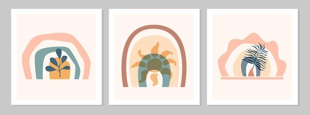 Arcobaleno di set astratto con forme, sole, ramo con foglie isolate su fondo beige. illustrazione piana di vettore. clipart in stile scandinavo per stampe moderne, biglietti di auguri, poster, wall art.