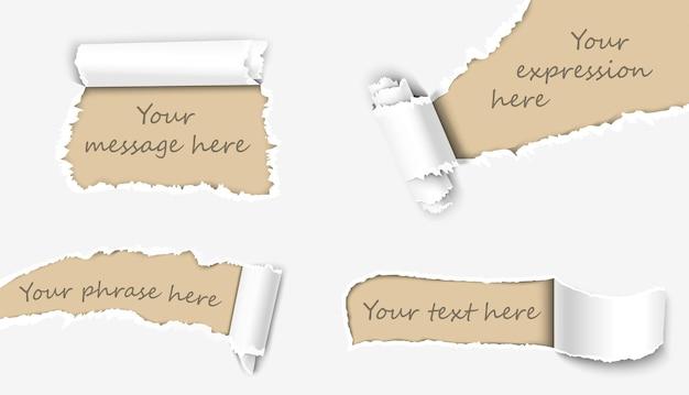 Insieme astratto di carta strappata o pagine danneggiate Vettore Premium