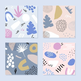 Set astratto in stile alla moda con elementi botanici e geometrici.
