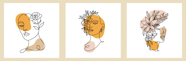Set astratto con viso di donna, silhouette ed elementi floreali
