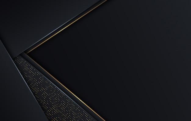 Modello di lusso di progettazione del fondo di colore scuro e dorato di forma astratta