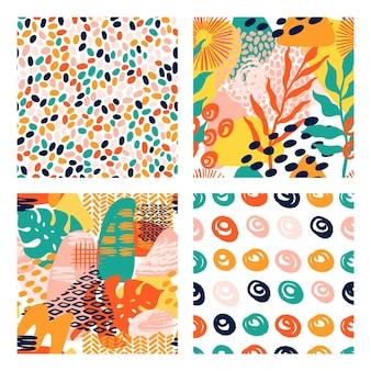 Modello vettoriale geometrico di forme astratte impostato in colori vivaci con foglie tropicali, pennellate e stampa di texture animali. modello moderno senza cuciture con grunge, strisce, cerchio in stile collage