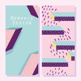 Forme astratte, copertine o banner in stile geometrico di memphis