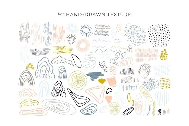Forme astratte moderni elementi floreali set grande scarabocchio astratto gocce linea e cerchi