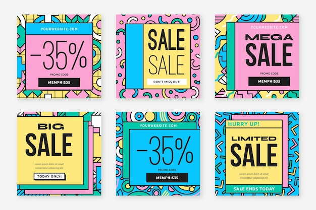 Post di instagram di vendita di forme astratte