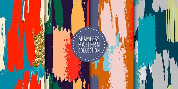 Collezione di modelli senza cuciture di forme astratte disegno vettoriale per decorazioni e rivestimenti interni in tessuto di carta