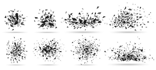 Esplosione astratta in frantumi. struttura geometrica, scoppi di triangoli scuri e set di detriti in frantumi rotti