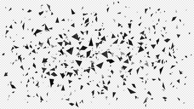 Particelle in frantumi astratte. particelle di triangoli scuri volanti casuali, struttura in frantumi e pezzi rotti