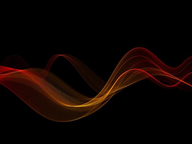 Elemento di design astratto onda oro colore lucido su sfondo scuro.