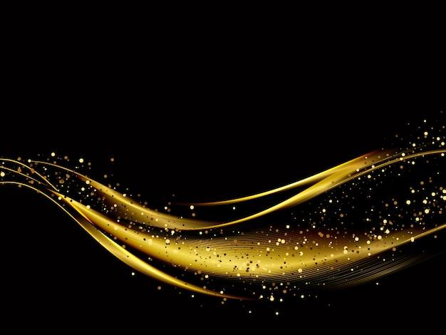 Elemento astratto onda d'oro di colore lucido con effetto glitter su sfondo scuro.