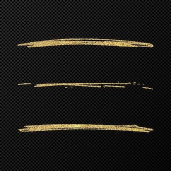 Onde scintillanti di coriandoli lucidi astratti. set di tre pennellate dorate disegnate a mano su sfondo nero trasparente. illustrazione vettoriale