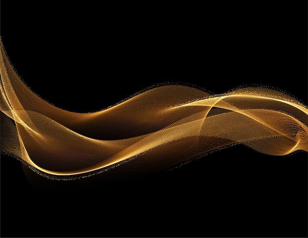 Disegno ondulato dorato lucido astratto con effetto glitter onda di flusso d'oro su sfondo scuro