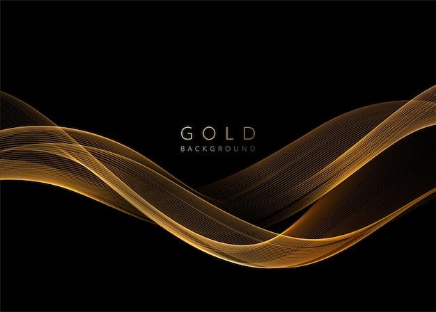Elemento ondulato dorato lucido astratto. flusso onda d'oro su sfondo scuro.