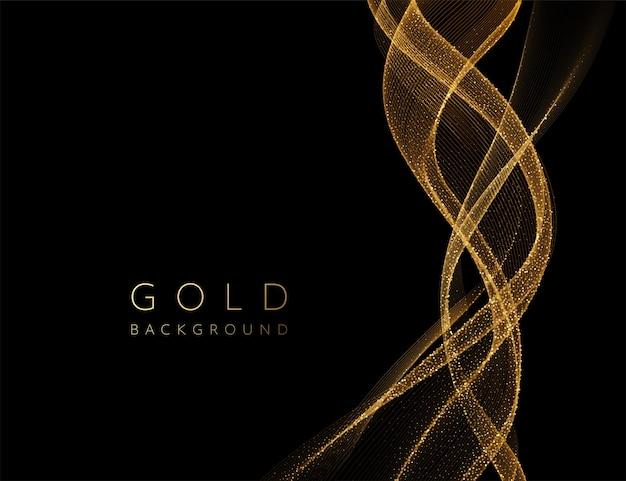 Elemento ondulato dorato lucido astratto con effetto glitter.