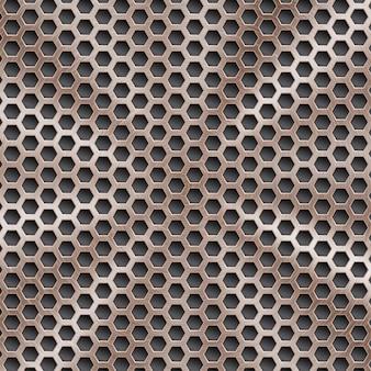 Fondo astratto in metallo lucido color bronzo con struttura circolare spazzolata e fori esagonali