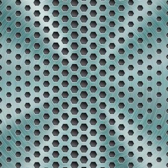 Fondo in metallo lucido astratto di colore azzurro con struttura circolare spazzolata e fori esagonali