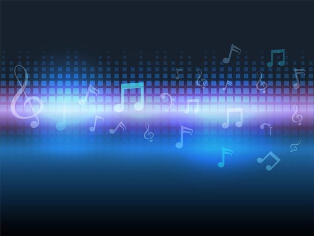 Sfondo di barre audio lucide astratte con note musicali.