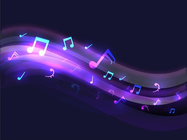 Sfondo astratto onda lucido decorato con note musicali.