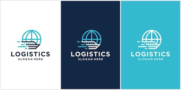 Loghi astratti della compagnia di spedizioni del logo del design del logo della nave in tutto il paese spedizioni navali