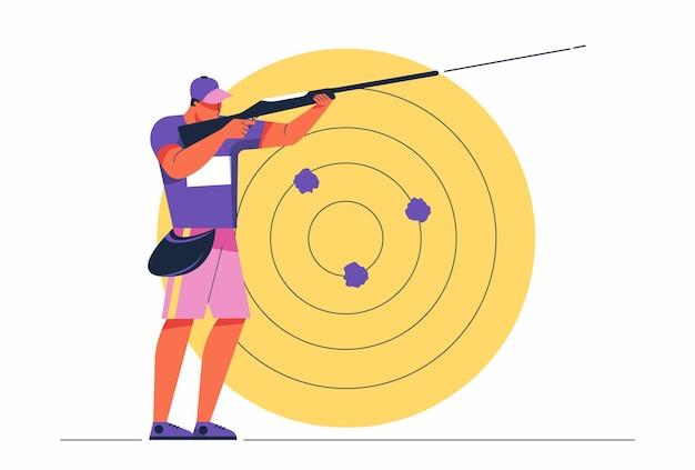 Uomo dell'atleta di tiro astratto che mira con l'illustrazione della competizione sportiva della pistola lunga