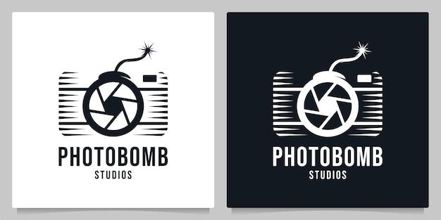 Abstract otturatore fotocamera bomb logo design concetti grafici logo design