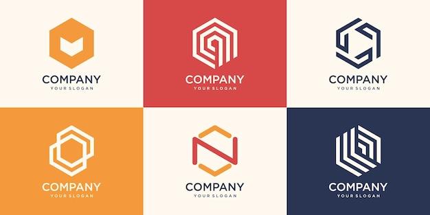 Segno astratto disegno del logo esagonale con il concetto di striscia, modello di logo aziendale moderno