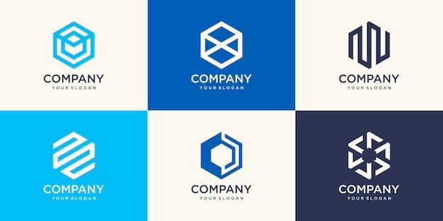 Segno astratto disegno del logo esagonale con il concetto di striscia, modello di logo di affari della società moderna