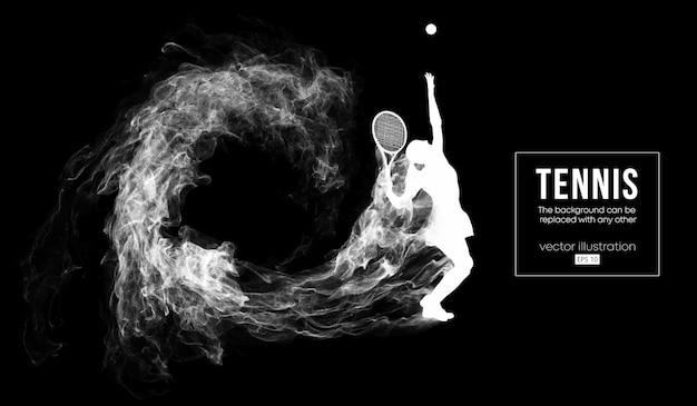 Siluetta astratta di un'illustrazione della donna del giocatore di tennis