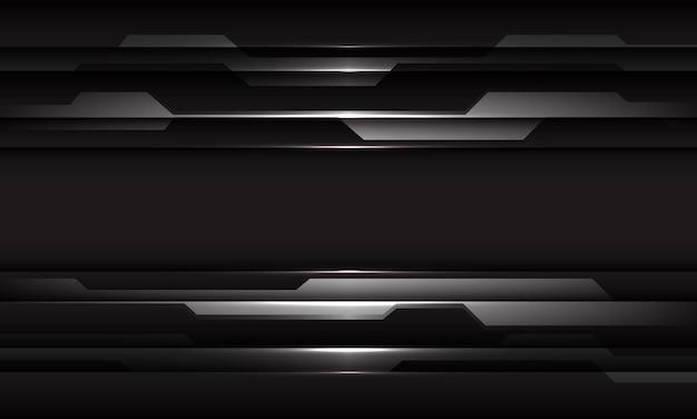 Linea geometrica cyber nera d'argento astratta sul fondo futuristico moderno di tecnologia di progettazione grigio scuro
