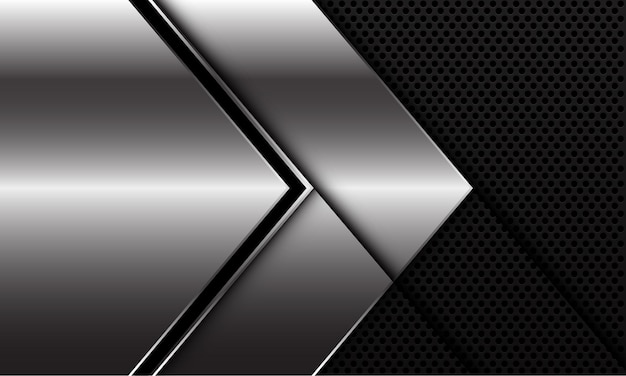 Direzione della freccia della linea nera argento astratta sul design della maglia del cerchio nero