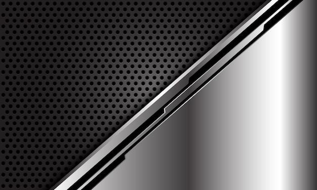 Linea nera d'argento astratta cyber sul fondo futuristico di lusso moderno di tecnologia della maglia del cerchio scuro.