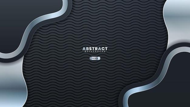 Banner linea argento astratta su grigio scuro metallizzato curva design moderno lusso sfondo futuristico illustrazione vettoriale.adatto per banner web, poster, flyer, copertina, brochure