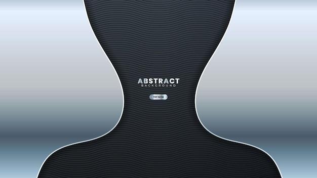 Striscione astratto linea argento su grigio scuro curva metallica design moderno lusso sfondo futuristico illustrazione vettoriale