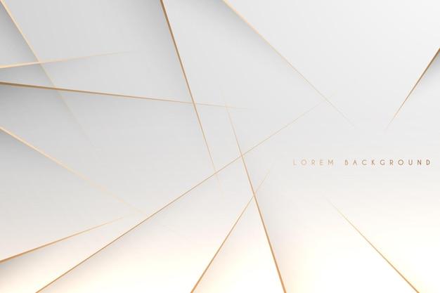 Fondo bianco semplice astratto con linee d'oro