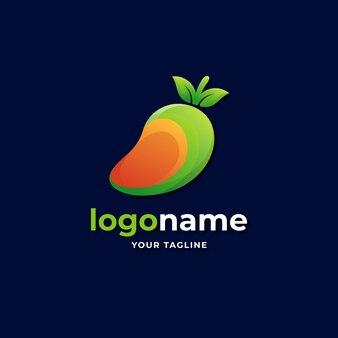 Logo astratto a fette di mango frutta stile sfumato per cibo e succo