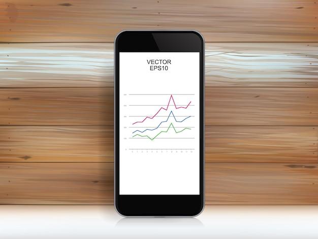 Smartphone astratto e grafico di investimento nello schermo di visualizzazione sopra struttura di legno. illustrazione vettoriale.
