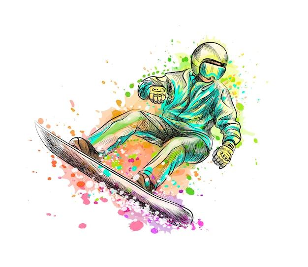 Snowboarder astratto da una spruzzata di acquerello, schizzo disegnato a mano. illustrazione di vernici