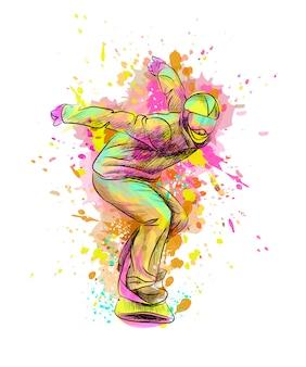 Snowboarder astratto da una spruzzata di acquerello, schizzo disegnato a mano. illustrazione vettoriale di vernici
