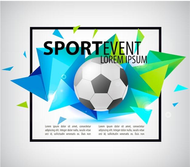 Invito della carta dell'aletta di filatoio del manifesto di calcio astratto di calcio palla realistica su sfaccettato colorato