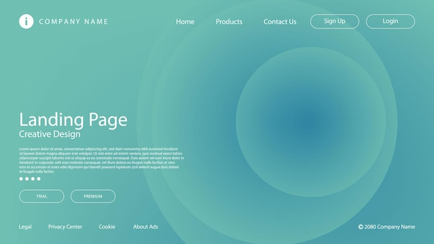 Gradiente blu morbido astratto ed elemento del cerchio per la pagina del sito web