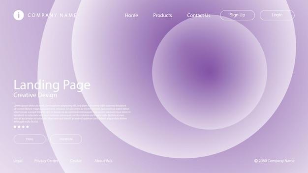 Gradiente di colore viola morbido astratto e elemento del cerchio per la pagina di destinazione del sito web