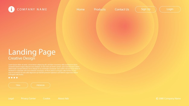 Abstract soft red, yellow and orange gradient and circle element for website landing page